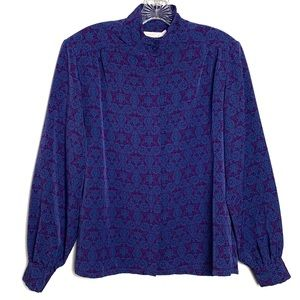 Pendleton Mix Print Purple Blue Blouse Sz 12 B-72